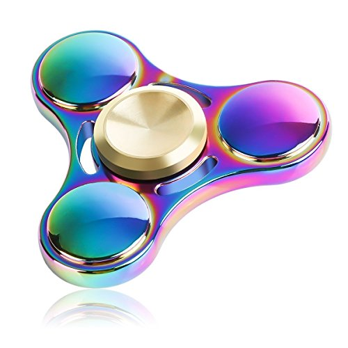 PELTEC@ Titan Metallic Fidget Spinner Finger Kreisel Regenbogenfarben Rainbow