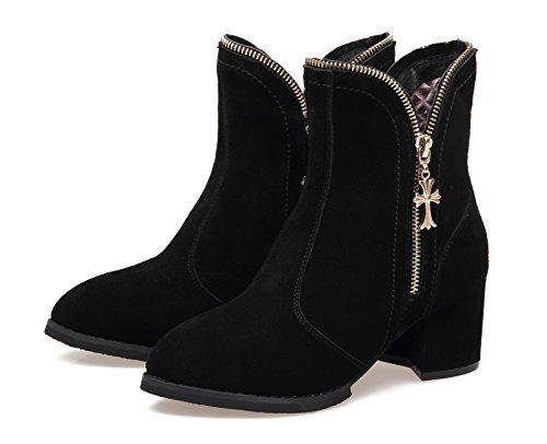 Damen Herbst Winter Wildleder Spitze Reißverschluss Trichterabsatz Einfache Stiefeln Elegante Schuhe Schwarz
