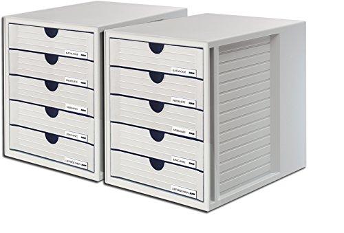 HAN Schubladenbox SYSTEMBOX 1450 mit 5 geschlossenen Schubladen für Formate bis C4 (lichtgrau / 2 Boxen) - C4 Box