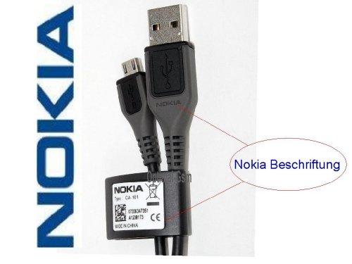 Original Nokia CA-101 USB Kabel für Nokia 3120c, 3600s, 3710f, 5130 XM, 5220 XM, 5310 XM, 5320 XM, 5330 XM, 5530 XM, 5610 XM, 5630 XM, 5730 XM, 5800 XM, 6210 N, 6220c, 6303c, 6500c, 6500s, 6555, 6600f, 6600s, 6600is, 6700c, 6710 N, 6720c, 6730c, 6760s, 7210 Supernova, 7310 Supernova, 7610 Supernova, 8600 Luna, 8800 Arte, E52, E55, E63, E66, E71, E72, E75, N78, N79, N81, N810 Internet Tablet, N810 WiMAX Edition, N81 8GB, N82, N85, N86 8MP, N96, N97.Schnellversand.