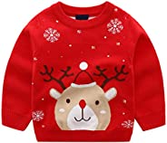 Niños Niñas Jersey de Navidad Sudadera de Punto Suéter Invierno Pull-Over Manga Larga Ciervo 1-6 Años