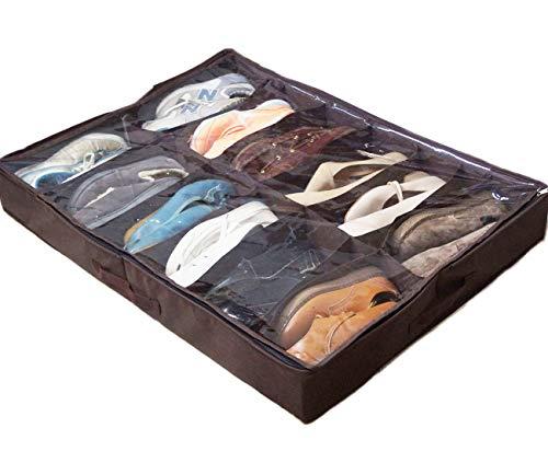 Organizador de Zapatos Plegable Zapatero Bajo Cama de Gran Capacidad de Almacenaje para 12 Pares de Zapatos con Cubierta Transparente (90cm x 60cm x 12cm)