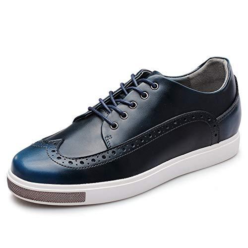 Bangxiu Herren Lederschuhe Mode OX Leder Brogue Schuhe Schnürung Stil Outsole Erhöhte Versteckte Schuhe mit hohem Absatz Formelle Business-Bequeme Abendschuhe (Color : Blau, Größe : 40 EU) -