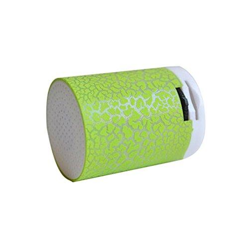 Mini LED Wireless Hände Frei Lautsprecher Stilvolle High Sound Qualität Audio Player Tragbare Super Bass Stereo Lautsprecher MP3-Player Geringe Verzerrung USB / TF / FM Unterstützung für Smartphone Tablet Laptop (Green) (Haus-stereo-usb-player)