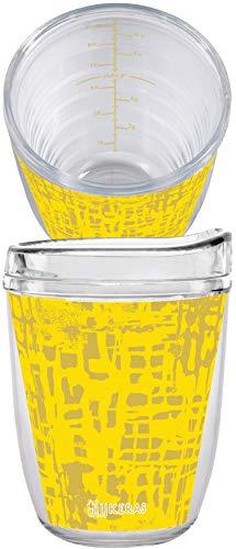 JJ Keras Collection by Kompass Trinkbecher inkl. klarem Tritan-Deckel mit MiLiOZ Innenmesssystem, Honeycomb Art Design, 1 Stück 12 ounce - 2 Pack Honeycomb/Clear Lid