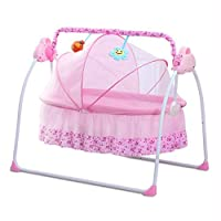 Enklov Baby Bed Smart Baby Toddler Bed Music Automatic Sleeping Swing Cradle with Baby Safety Belt, Baby Pillow, Baby Mattress, Mosquito Net - Pink