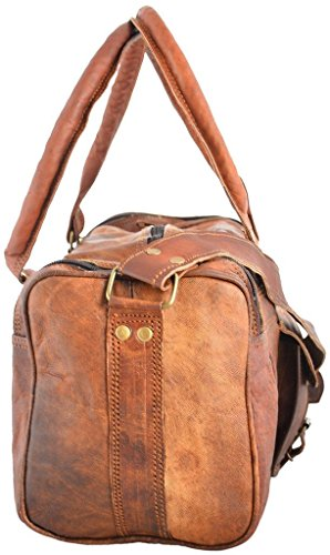 "Best tumi backpack in India 2020 Leather Bag Vintage Brown Genuine Handmade 18"" Inches Square Duffle Bag by Pranjals house Image 2"