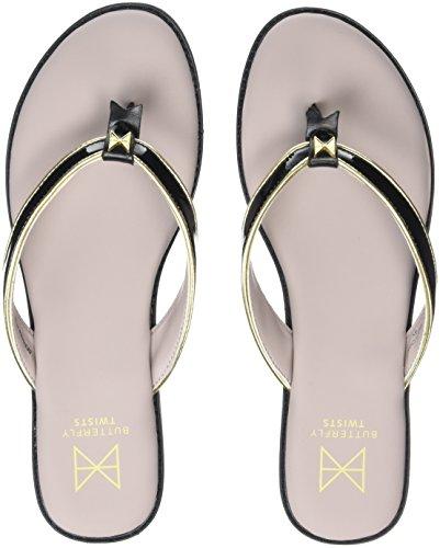 Butterfly Twists Damen Bondi Peeptoe Ballerinas, Schwarz (Black/Gold 327), 38 EU (Toe Peep Patent Black)