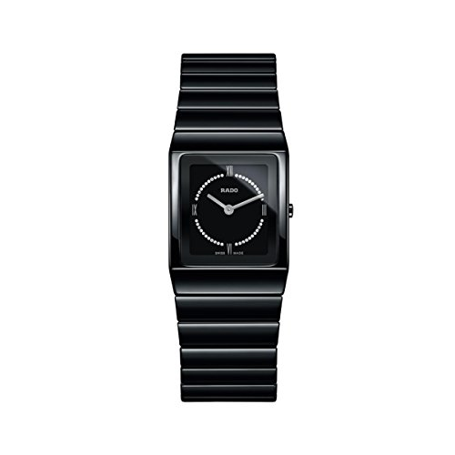Rado Women's Ceramica Diamond Black Ceramic Case Quartz Analog Watch R21702732