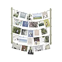 Umbra Hangit Display-DIY Frames Collage Set Includes Picture Wire Twine Cords, Wall Mounts and Clothespin Clips for Hanging Photos, Prints and Artwork, 26 x 30, Brass