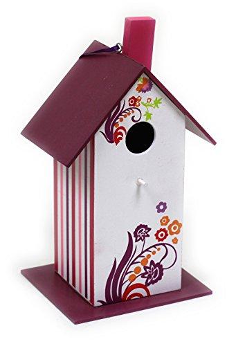 Buntes Vogelfutterhaus aus Holz / Lila / 25 x 12 x 14 cm / Nistkasten