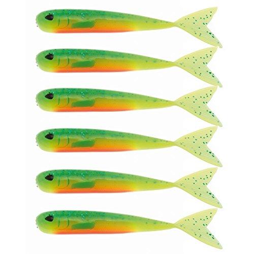 Westin Mega Teez 9cm - 6 Gummifische zum Spinnfischen auf Zander & Barsch, Dropshot Köder, Gummiköder zum Jiggen, Barschköder, Farbe:Fireflake