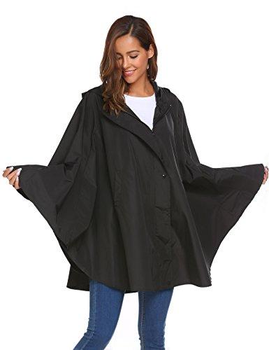 MAXMODA Regenmantel Damen Regenjacke Wasserdicht Windjacke Regenponcho Regencape Leichter Regenbekleidung Atmungsaktiv Windbreaker mit Kapuze