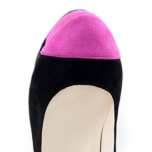 Onlymaker Damenschuhe High Heels Stiletto Runde Toe Mehrfarbig Pumps mit Plateau Schwarz und Pink Schwarz
