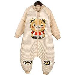 Happy Cherry Bolsa de Dormir de Algodón Mono Pijama de Mangas Largas Saco de Dormir para Bebés Niños Niñas Otoño Invierno Sleeping Bag Talla XL Longitud 90cm