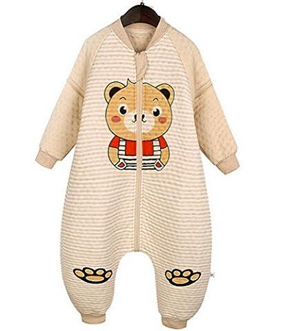Happy Cherry Pyjama Enfant Bébé Fille Garçon Sac de Couchage Gigoteuse Grenouillères Combinaison Douillette 2 Glissière avec Manches Longues Amovibles Imprimé Animal Ours pour 0-2ans