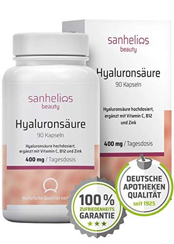 Sanhelios® Hyaluronsäure Anti-Aging Komplex mit Vitamin C, B12 & Zink | 400 mg Hyaluron (500-700 kDA) hochdosiert je Kapsel | 90 Tage | Vegan - Nur natürliche Inhaltsstoffe | Apothekenqualität -