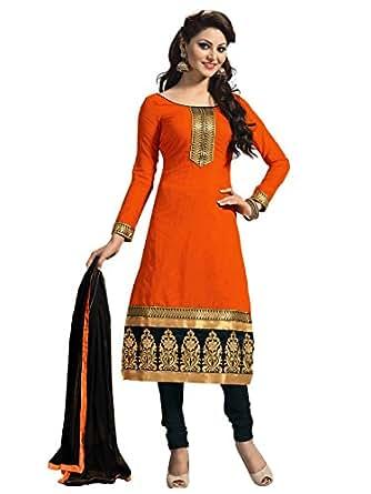 Sky Global Women's Polyester Dress Material (SKY_DM_503_Free Size_Orange)
