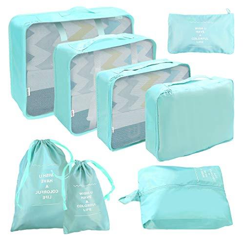 Koffer Organizer Set 8-teilig, Reise Kleidertaschen, wasserdichte Reisen Aufbewahrungstasche Cubes Aufbewahrungstasche Organizer Tasche für Schuhe, Kleidung,Kosmetik -Blau (Package Bag-1016)