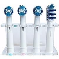 Seemii - Soporte para cabezales de cepillo de dientes electrónico, Soporta 2 ó 4 cabezales, Soporte Oral-B cabezales, Transparente (4)