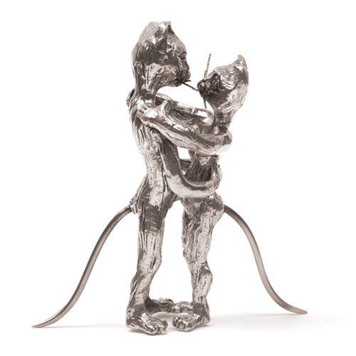Chat Danseurs Slow Miniature - Etain 95,5% - Fabriqué en France - Objet déco - Cadeau musique
