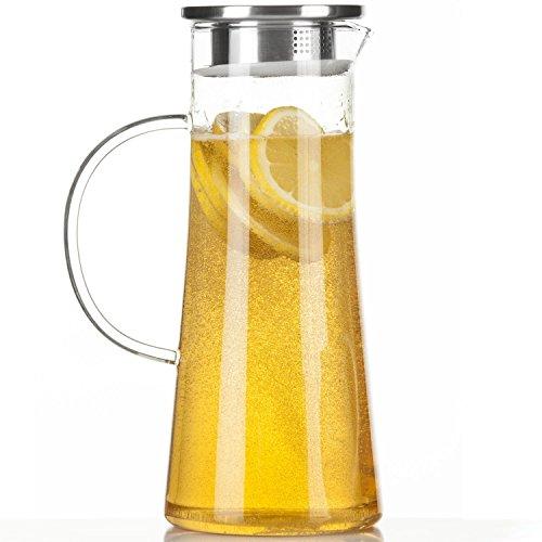 Dimono Wasserkrug Wasserkanne Krug 1,5 Liter, Glaskrug mit Filter und Deckel aus Edelstahl - Deckel Metall-krug Mit
