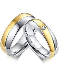 Vnox de Acero Inoxidable y Chapado en Oro 3A Cubic Zirconia Que Empareja el Anillo de Compromiso de Pareja de…