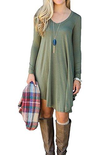 LILBETTER Damen Langarm-beiläufige V-Ausschnitt Stretch Basic Kleider (Armeegrün XL) Grüne Mini-kleid