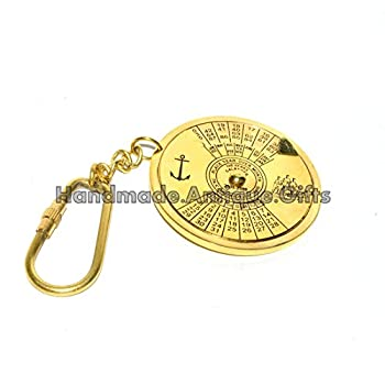 Vintage Brass Keychain Key Ring 100 Years Calendar Brass Gift 0