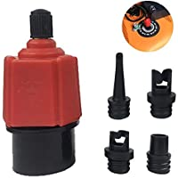 FOONEE Multifunction Air Pump Valve Adapter, ABS and Alloy material SUP Valve Adapter Accessories with 4 Nozzles for Kayak Dinghy Inflatable Boat Inflatable Bed