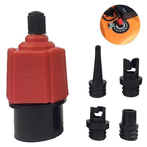 Vuffuw Multifunktionale Luftpumpen-Ventil-Adapter mit 4 Düsen für Auto/Fahrrad Luftpumpe für Kajak Schlauchboot aufblasbares Bett