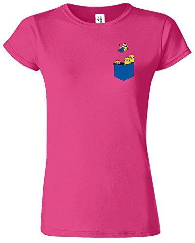 Minion Pocket Damen T-Shirt Verabscheuungswürdig Mich Figuren Antique Heliconia