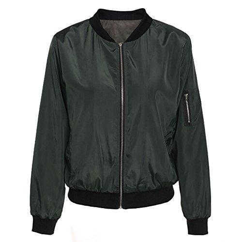 DELEY Femmes Automne Hiver Manches Longues Zip Classique Bomber Jacket Manteau Veste Outwear Blouse Vert