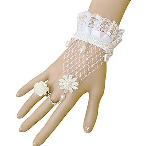 temps Usurier Blanc en dentelle Rose Perle Bracelet Bague réglable