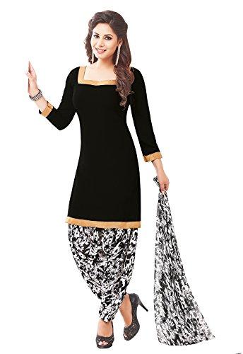 Ishin Women\'s Dress Material (Daramb1534R_Black & White_One Size)