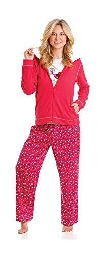La Marquise Snow Bubbles Pyjama Long avec Sweat à Capuche Femme Rouge