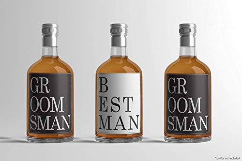 Vogue Best Man & Groomsman Geschenke-Bachelor Party Supplies &-8Gastgeschenken Flasche Label Aufkleber schwarz