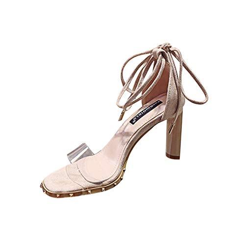 ❀ Eaylis Damen Transparente TräGer Mit Einfarbigen Sandaletten Mit Hohen AbsäTzen