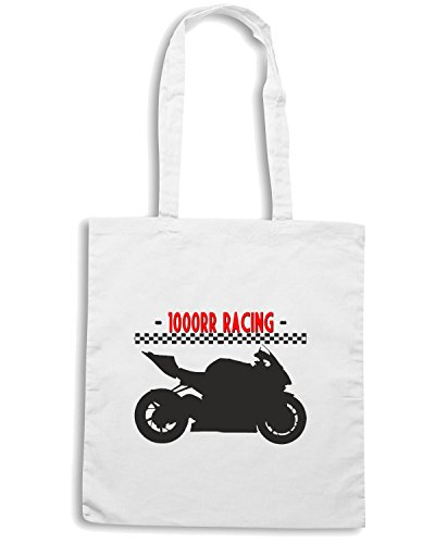 T-Shirtshock - Borsa Shopping TB0266 GERMAN MOTORCYCLE RR RACING Bianco