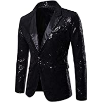 Charmlinda Men's Sequin Blazer Suit Jacket Luxury Dress Suit Jacket Shiny Notch Lapel Slim Fit Blazer Tuxedo Jackets for…