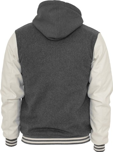 Urban Classics Herren Hooded Oldschool College Jacket TB438 Grey/White