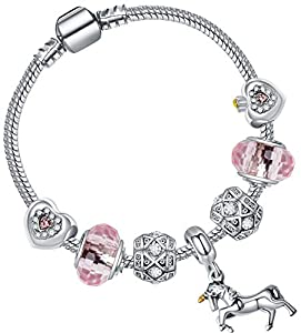Unicorn Bracelet Unicorn Crystal Charm Bracelet for Girls Love Heart Charm with Gift Box Girls Unicorn Jewellery by SheClub (17cm Barrel Clasp)
