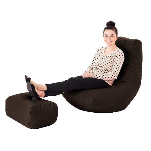 Teens Für Gaming-stühle (Braun Kunstleder Gaming Highback Sitzsack Liege Stuhl mit Fußhocker)