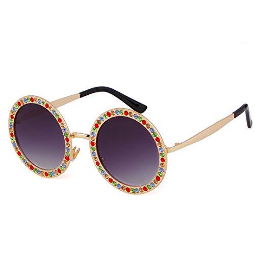 DAIYSNAFDN Retro Runde Sonnenbrille Kristall Diamant Sonnenbrille Frauen Shades Metallrahmen Kreis Uv400 Eyewear C4