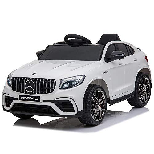 BAKAJI Auto Elettrica Bambini Mercedes GLC 63 AMG 12V con Sedile in Pelle Fari a LED MP3 USB SD e Telecomando (Bianca)