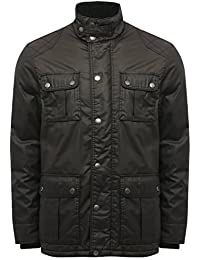 M&Co Mens Black Long Sleeve Warm Practical Waxed Look Finish Four Pocket Utility Style Button Front Coat