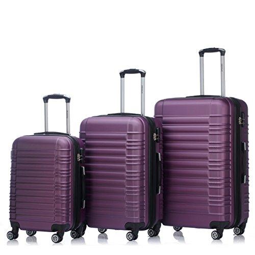 Zwillingsrollen 2088 Reisekoffer Koffer Trolleys Kofferset Reisekofferset Hartschale in 14 Farben(Violett)