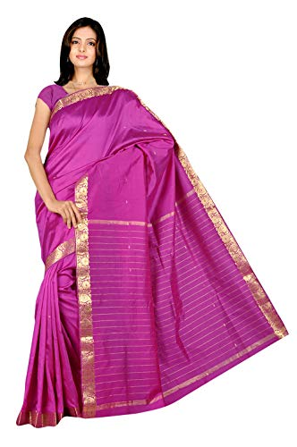 The Fabrics Station Bollywood Designer Indische Handgefertigte Kunst Seide Saree / Sari wickeln für Party Wear, Hochzeit, Abend, Ehe, Event, Party, Abendmode, Trachten - 26 Farben |Purpurrot -
