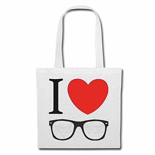 Tasche Umhängetasche I Love Brille ICH Liebe Brillen Geek Brille Nerd Brille BRILLENGLÄSER BRILLENFASSUNG NERDBRILLE GEEKBRILLE BRILLENGESTELL Einkaufstasche Schulbeutel Turnbeutel in Weiß