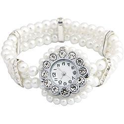 Gleader White Faux Pearl Beads Crystal Rhinestone Bracelet Wrist Watch
